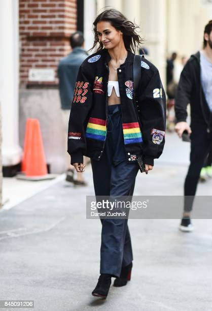 Model Gizele Oliveira is seen outside the Rebecca Minkoff show during New York Fashion Week Women's S/S 2018 on September 9 2017 in New York City