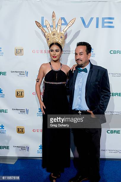 Model Gladys Castillo and Costume Designer Ricardo Soltero arrive for the Metropolitan Fashion Week 2016 La Vie En Bleu a Signature Event Benefiting...