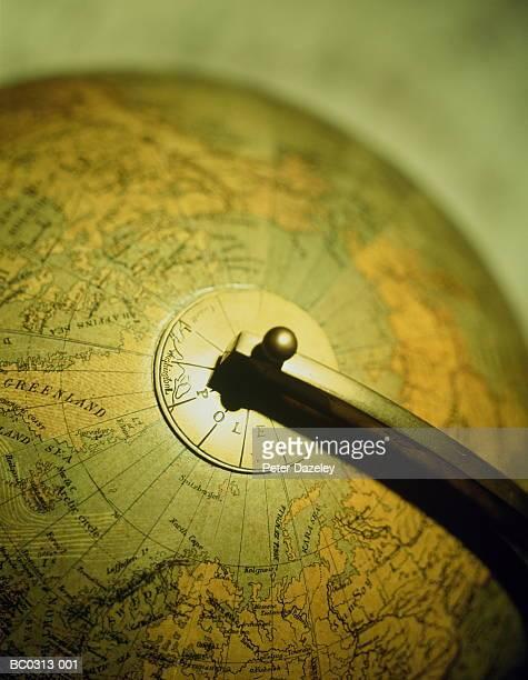 Model globe, focus on North Pole, close-up