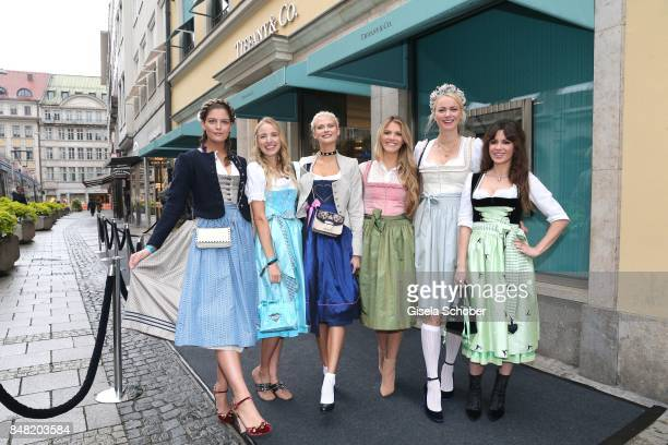Model GNTM Vanessa Fuchs, Leonie Hanne, Darya Strelnikova, Viviane Geppert, Franziska Knuppe and Natalia Avelon during the Breakfast at Tiffany at...