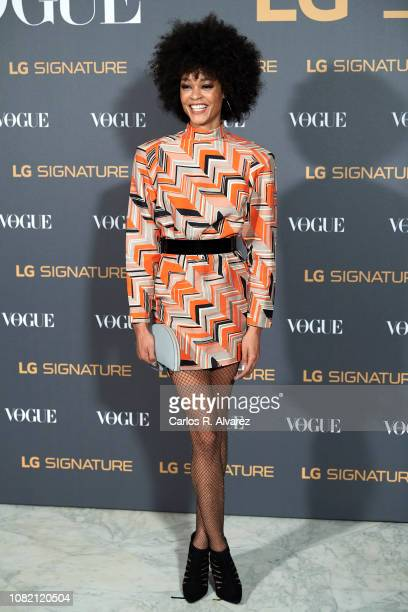 Model Godeliv Van Den Brandt attends 'Vogue LG Signature' photocall at Carlos Maria de Castro Palace on December 13 2018 in Madrid Spain