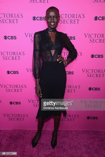 Model Grace Bol attends as Victoria's Secret Angels gather for an intimate viewing party of the 2017 Victoria's Secret Fashion Show at Spring Studios...