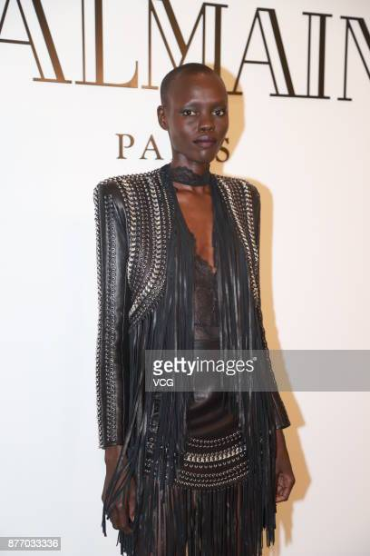 Model Grace Bol of South Sudan attends the Balmain event on November 21 2017 in Shanghai China