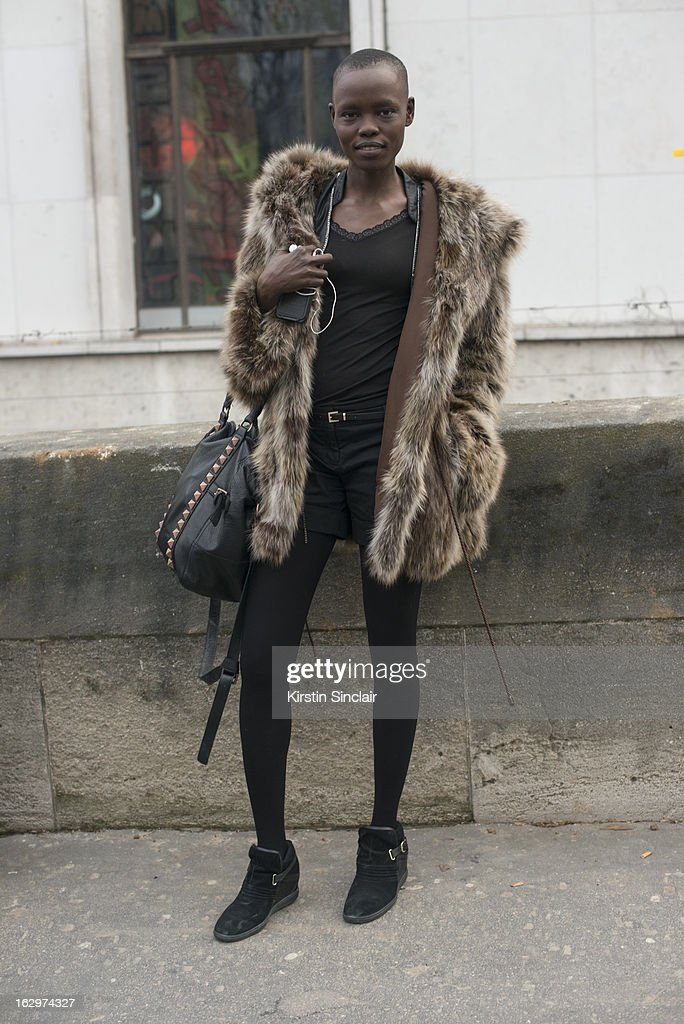 Model Grace Bol poses on day 2 of Paris Womens Fashion Week Autumn/Winter 2013 on March 1, 2013 in Paris, France.