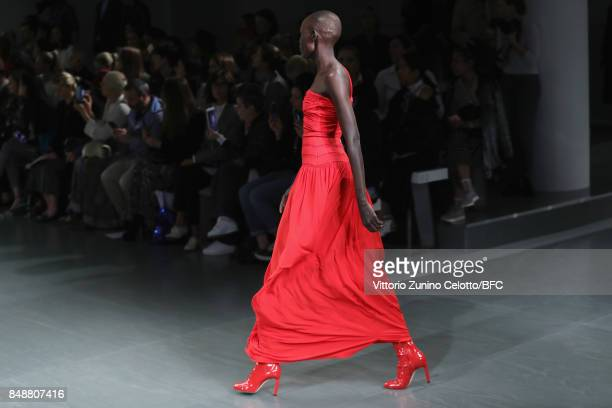 Model Grace Bol walks the runway at the Antonio Berardi show during London Fashion Week September 2017 on September 18 2017 in London England