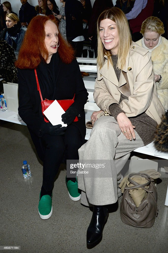 Model Grace Coddington (L) and fashion market/accessories director at Vogue, Virginia Smith attend the Jason Wu fashion show during Mercedes-Benz Fashion Week Fall 2015 at Spring Studios on February 13, 2015 in New York City.