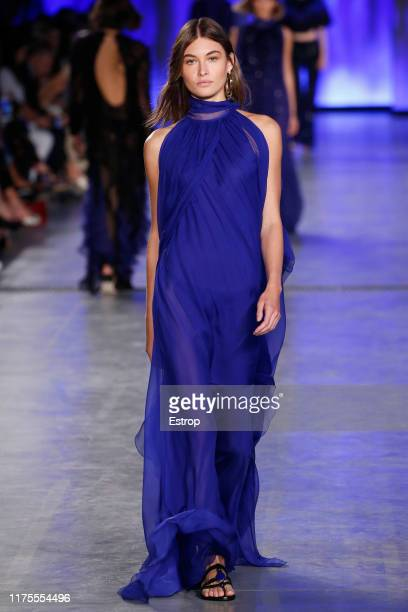 Model Grace Elisabeth walks the runway at the Alberta Ferretti show during Milan Fashion Week September 2019 at Italy on September 18 2019 in Milan...