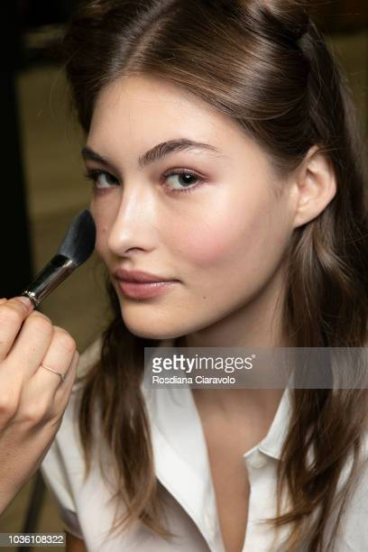 Model Grace Elizabeth is seen backstage ahead of the Alberta Ferretti show during Milan Fashion Week Spring/Summer 2019 on September 19 2018 in Milan...