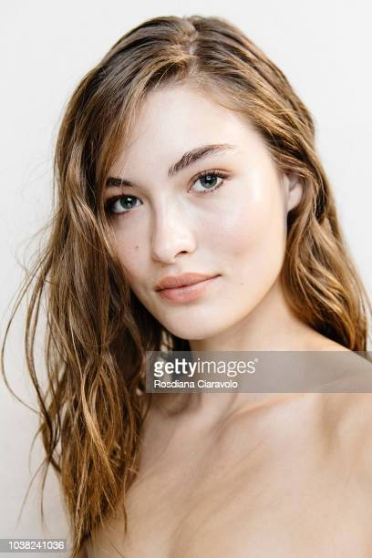 Model Grace Elizabeth is seen backstage ahead of the Philosophy Di Lorenzo Serafini show during Milan Fashion Week Spring/Summer 2019 on September...