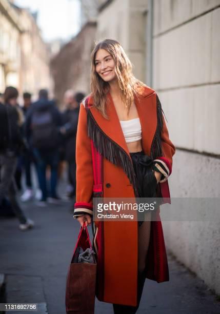 Model Grace Elizabeth is seen outside Etro on Day 3 Milan Fashion Week Autumn/Winter 2019/20 on February 22, 2019 in Milan, Italy.