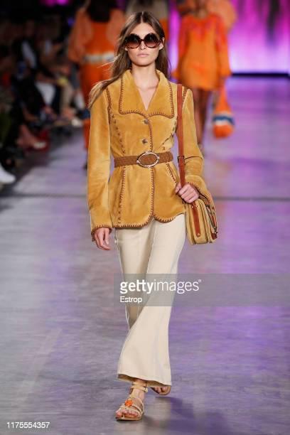 Model Grace Elizabeth walks the runway at the Alberta Ferretti show during Milan Fashion Week September 2019 at Italy on September 18, 2019 in Milan,...