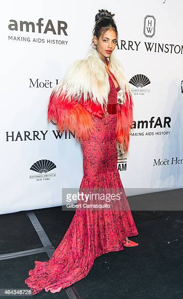 Model Grace Mahary attends the 2015 amfAR New York Gala at Cipriani Wall Street on February 11, 2015 in New York City.