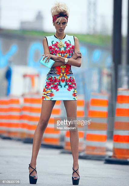 A Model is photographed for a street style fashion shoot for Dress to Kill Magazine on June 1 2012 in Toronto Ontario Published Image