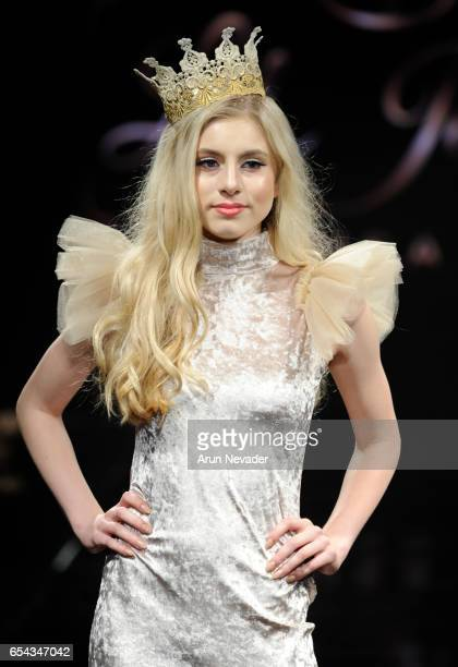 Model Grace Wethor walks the runway wearing Lil Jewels Boutique at Art Hearts Fashion LAFW Fall/Winter 2017 Day 3 at The Beverly Hilton Hotel on...
