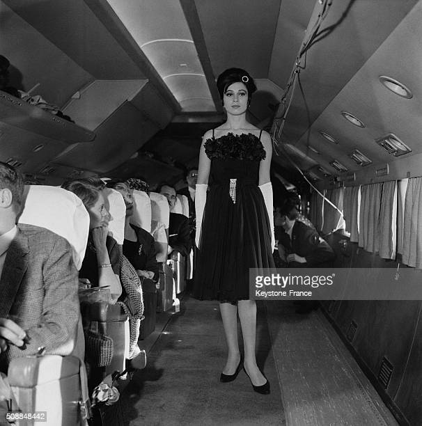 Model Grand Chelem Designed By Lanvin At the Fashion Show Aboard a Converted Plane DC 6 At An Altitude Of 6000 Meters Between Paris And Geneva on...