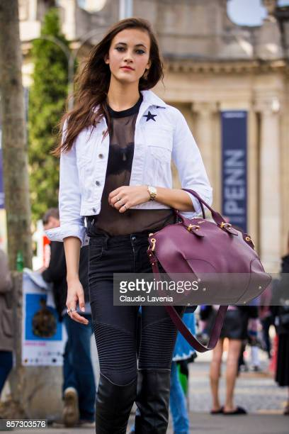Model Greta Varlese is seen on the streets of Paris after the Chanel show during Paris Fashion Week Womenswear SS18 on October 3 2017 in Paris France