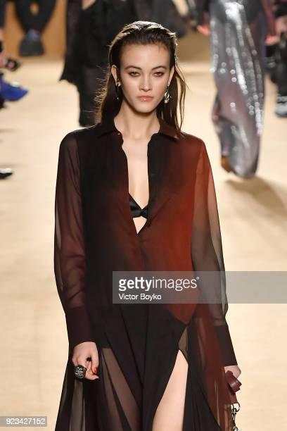 Model Greta Varlese walks the runway at the Roberto Cavalli show during Milan Fashion Week Fall/Winter 2018/19 on February 23 2018 in Milan Italy
