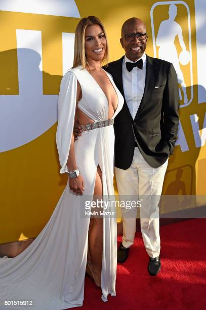 Model Gwendolyn Osborne and TV personality/former NBA player Kenny Smith attends the 2017 NBA Awards Live on TNT on June 26 2017 in New York New York...