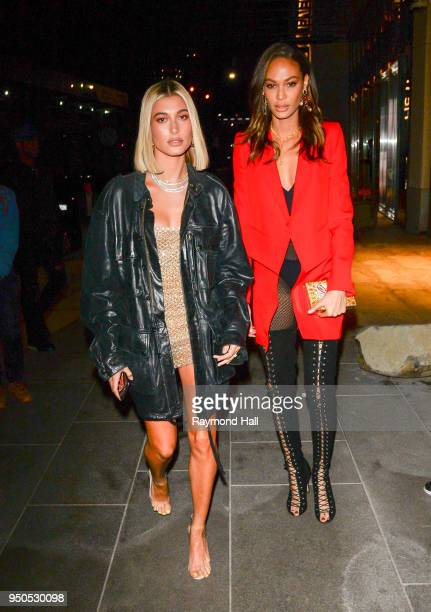 Model Hailey Baldwin and Joans Smalls are seen arriving at Gigi Hadid's party in Brooklyn on April 23 2018 in New York City