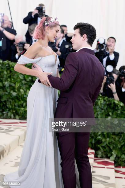 Model Hailey Baldwin and recording artist Shawn Mendes attend the Heavenly Bodies Fashion The Catholic Imagination Costume Institute Gala at The...