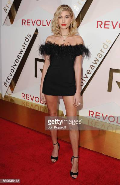 Model Hailey Baldwin arrives at #REVOLVEawards at DREAM Hollywood on November 2, 2017 in Hollywood, California.