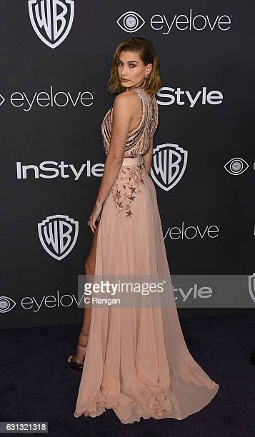 Model Hailey Baldwin arrives at the 18th Annual PostGolden Globes Party hosted by Warner Bros Pictures and InStyle at The Beverly Hilton Hotel on...