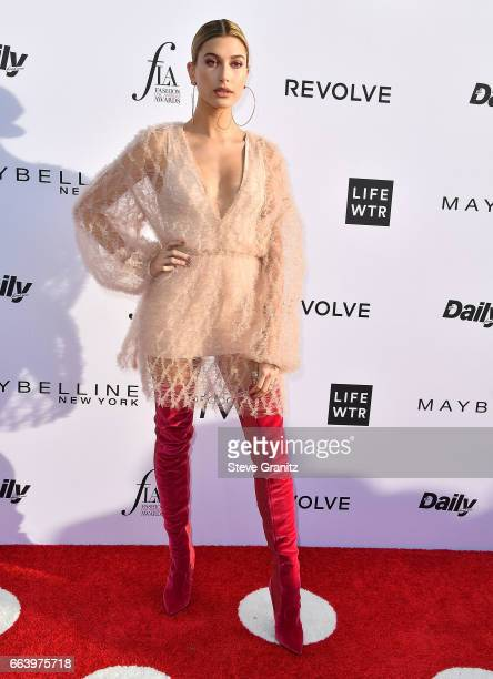 Model Hailey Baldwin arrives at the Daily Front Row's 3rd Annual Fashion Los Angeles Awards on April 2 2017 in West Hollywood California