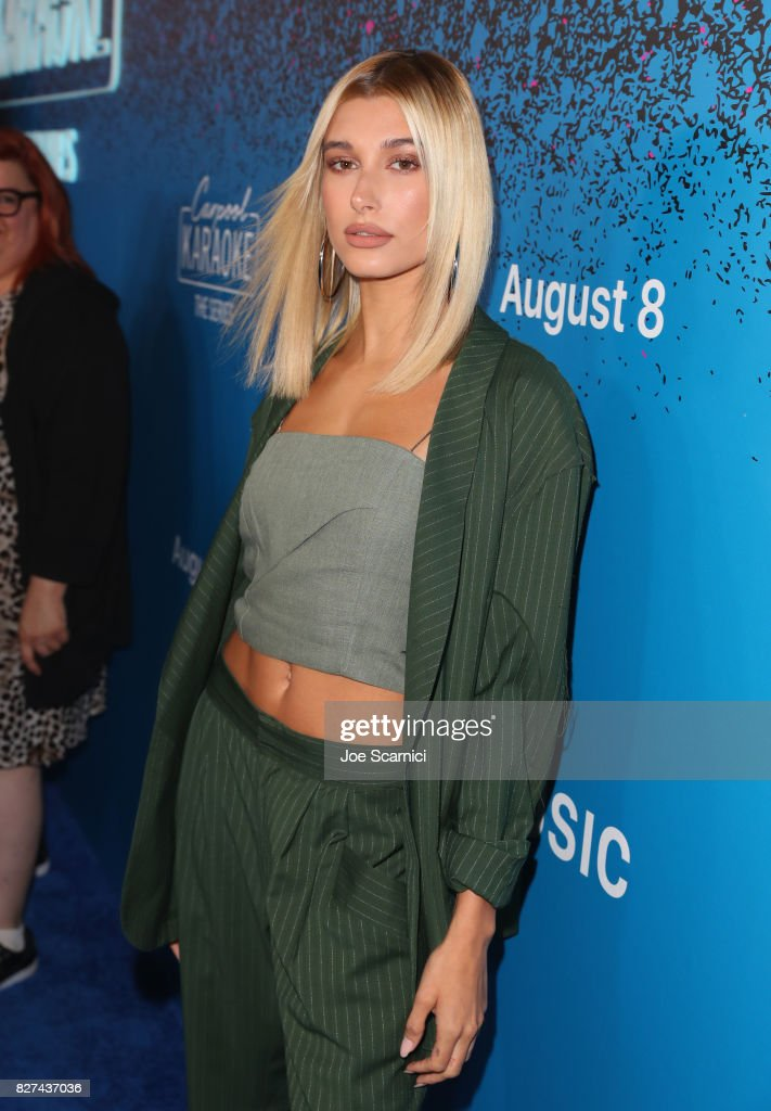 Model Hailey Baldwin at Apple Music Launch Party Carpool Karaoke: The Series with James Corden on August 7, 2017 in West Hollywood, California.