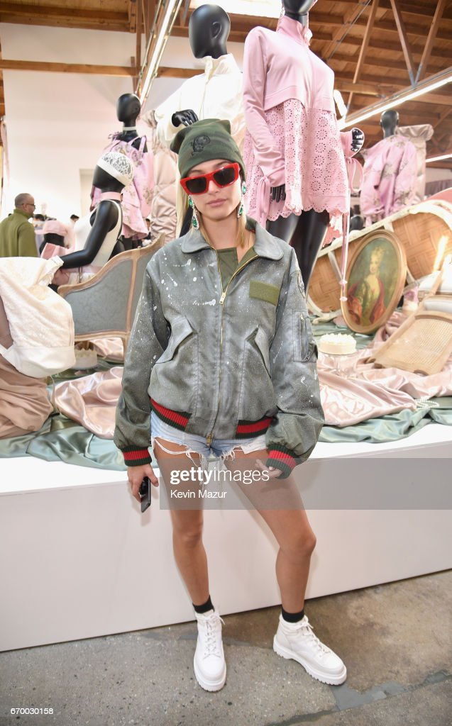 Model Hailey Baldwin at the FENTY PUMA by Rihanna Experience on April 18, 2017 in Los Angeles, California.