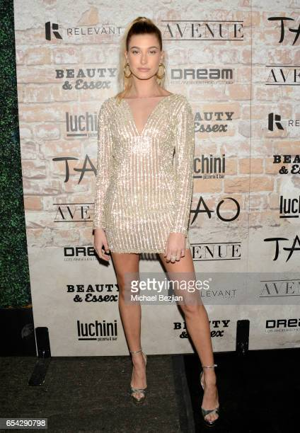 Model Hailey Baldwin attends day one of TAO Beauty Essex Avenue Luchini LA Grand Opening on March 16 2017 in Los Angeles California