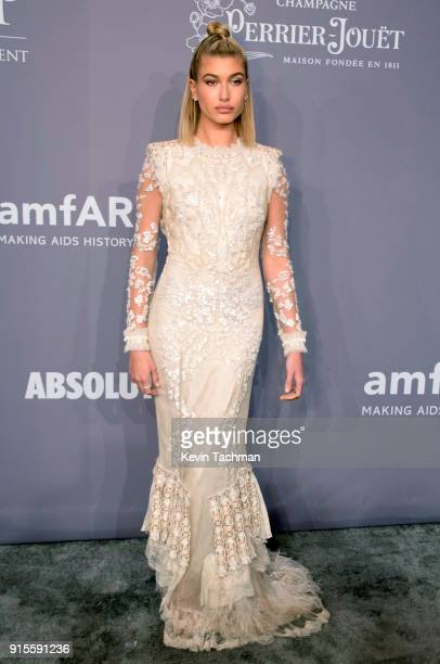 Model Hailey Baldwin attends the 2018 amfAR Gala New York at Cipriani Wall Street on February 7 2018 in New York City