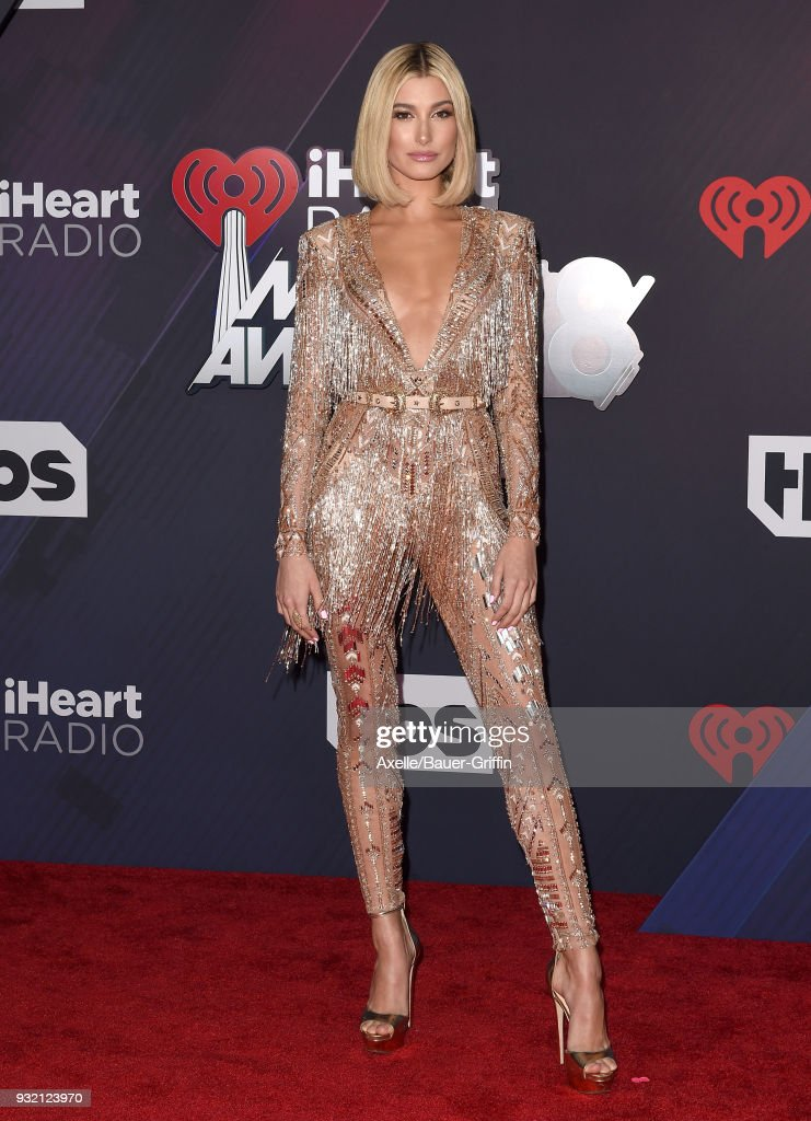 Model Hailey Baldwin attends the 2018 iHeartRadio Music Awards at the Forum on March 11, 2018 in Inglewood, California.