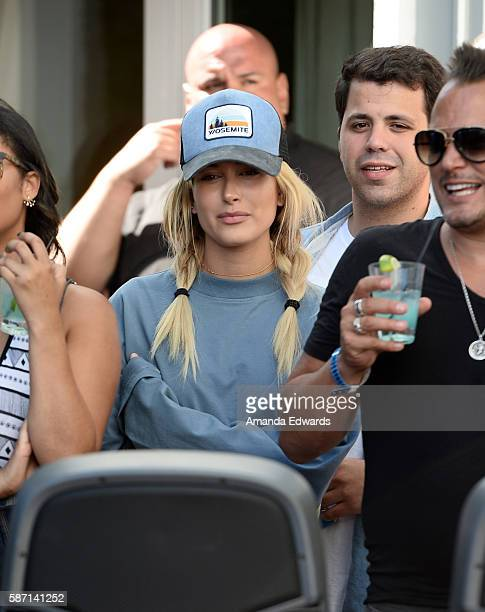 Model Hailey Baldwin attends the NextRadio App Summer Pool Party Series with Kid Ink and Justine Skye at Mondrian Los Angeles on August 7 2016 in...