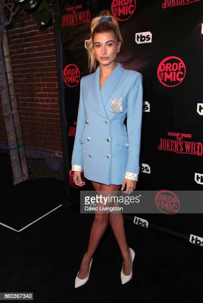 Model Hailey Baldwin attends the premiere for TBS's 'Drop The Mic' and 'The Joker's Wild' at The Highlight Room on October 11 2017 in Los Angeles...