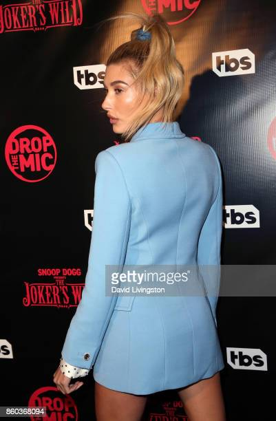 Model Hailey Baldwin attends the premiere for TBS's Drop The Mic and The Joker's Wild at The Highlight Room on October 11 2017 in Los Angeles...
