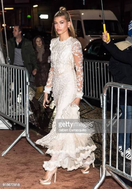 Model Hailey Baldwin is seen arriving to the 2018 amfAR Gala New York at Cipriani Wall Street on February 7 2018 in New York City