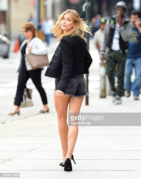 Model Hailey Baldwin is seen during a photoshoot on October 22 2015 in New York City