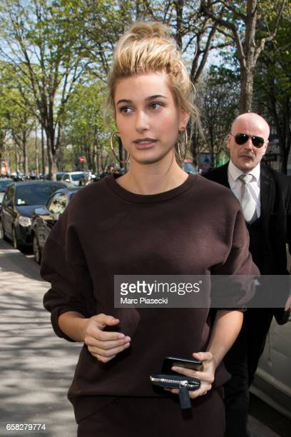 Model Hailey Baldwin is spotted on Avenue Montaigne on March 27 2017 in Paris France
