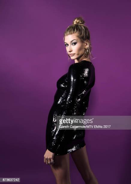 Model Hailey Baldwin poses in the Studio during the MTV EMAs 2017 held at The SSE Arena Wembley on November 12 2017 in London England