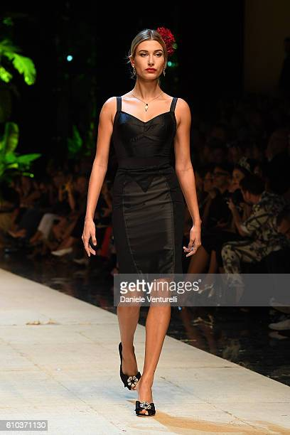 A model Hailey Baldwin walks the runway at the Dolce And Gabbana show during Milan Fashion Week Spring/Summer 2017 on September 25 2016 in Milan Italy