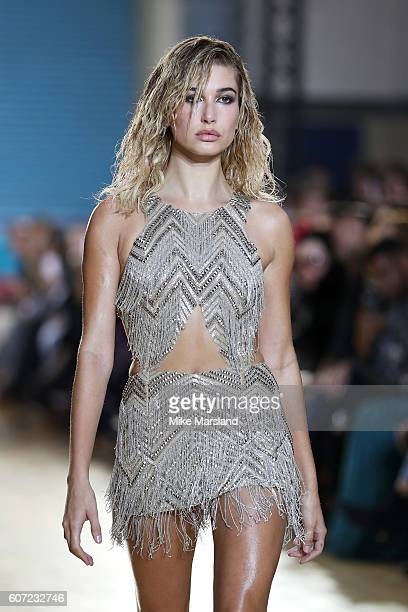 Model Hailey Baldwin walks the runway at the Julien Macdonald show during London Fashion Week Spring/Summer collections 2016/2017 on September 17...
