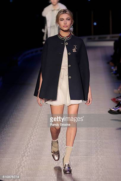 Model Hailey Baldwin walks the runway during the Tommy Hilfiger Women's runway show during Fall 2016 New York Fashion Week at Park Avenue Armory on...