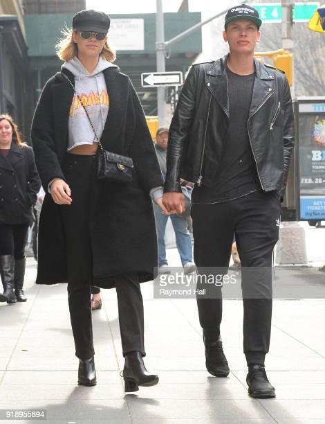 Model Hailey Clauson and Jullien Herrera are seen walking in soho on February 15 2018 in New York City