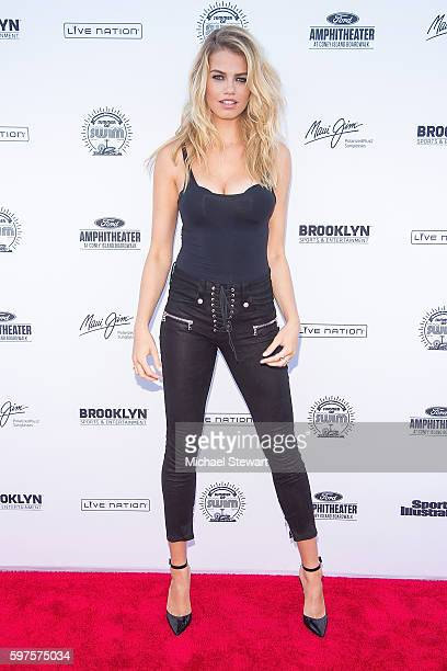 Model Hailey Clauson attends the 2016 Sports Illustrated Summer of Swim Fan Festival Concert at the Ford Amphitheater at Coney Island Boardwalk on...