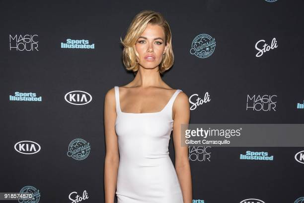 Model Hailey Clauson attends the 2018 Sports Illustrated Swimsuit Issue Launch Celebration at Magic Hour at Moxy Times Square on February 14 2018 in...