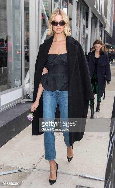 Model Hailey Clauson is seen leaving the Brock Collection during New York Fashion Week The shows at Gallery II at Spring Studios on February 9 2018...
