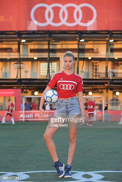 Model Hailey Clauson poses before the Audi Player Index PickUp Match at Chelsea Piers on August 2 2016 in New York City