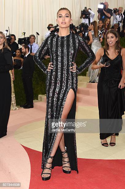 Model Hailey Rhode Baldwin attends the 'Manus x Machina Fashion In An Age Of Technology' Costume Institute Gala at Metropolitan Museum of Art on May...