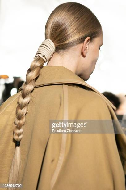 A model hair detail is seen backstage ahead of the Max Mara show during Milan Fashion Week Spring/Summer 2019 on September 20 2018 in Milan Italy