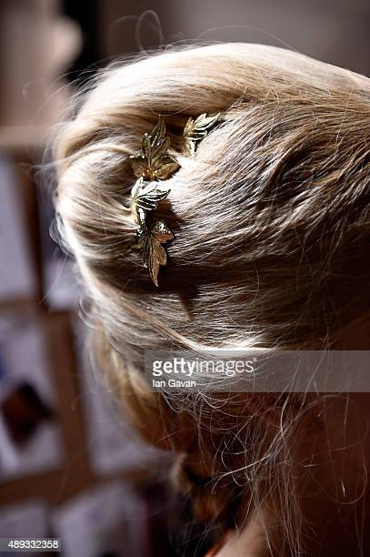 A model hair detail is seen backstage ahead of the Mimpikita show at Fashion Scout during London Fashion Week Spring/Summer 2016 on September 20 2015...